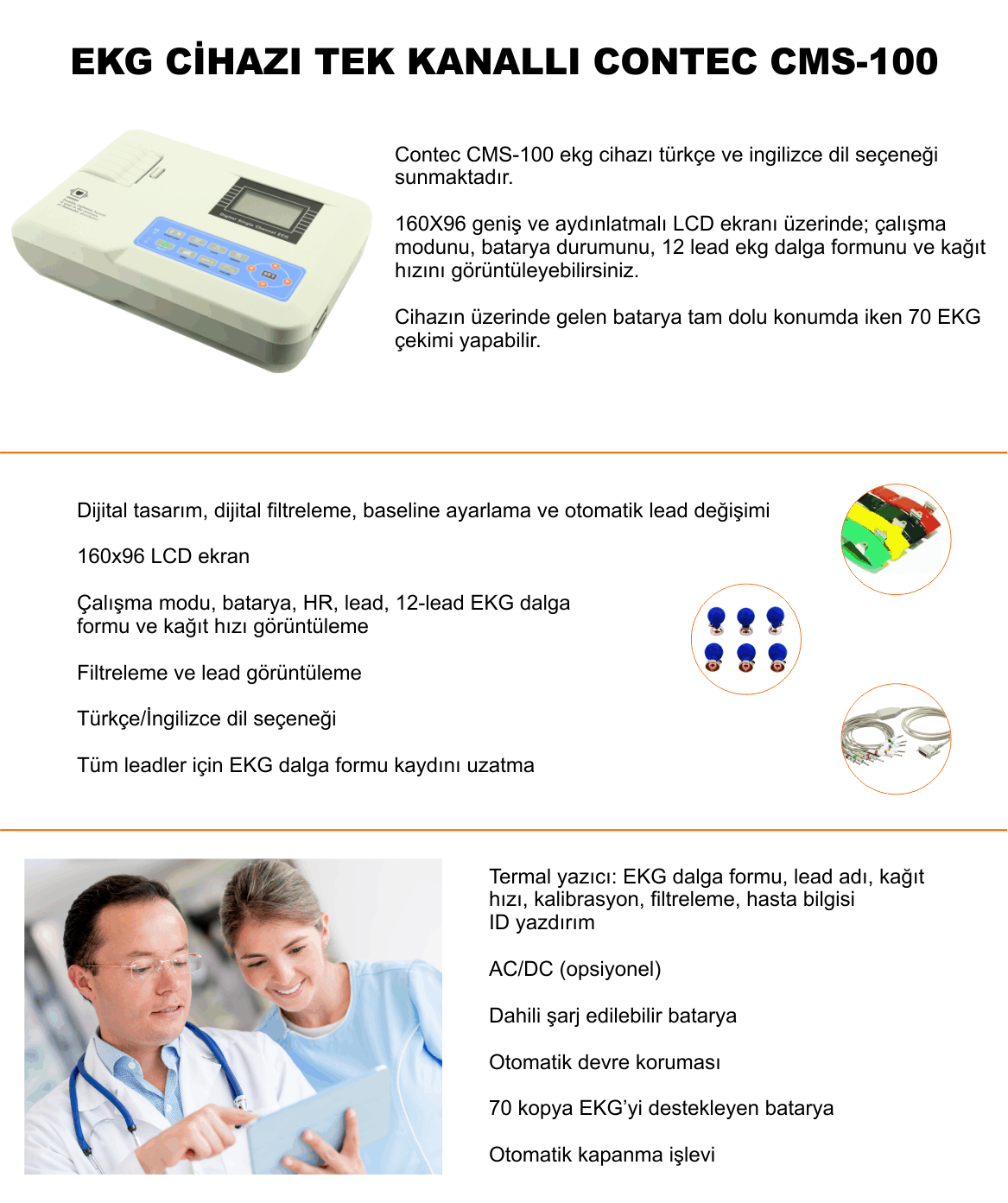 EKG CİHAZI TEK KANALLI CONTEC CMS-100 -sezermedikalcom