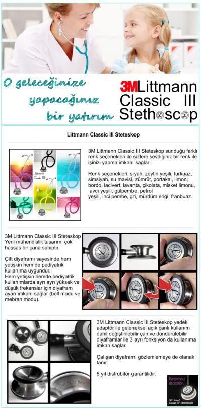 littmann Classic III Çift Taraflı Renkli Steteskop
